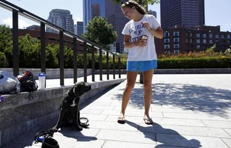 Samantha Orfanos, 22, shared a moment with her puppy, Blu.